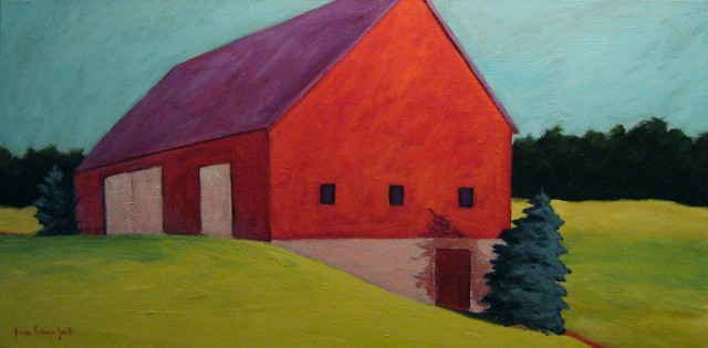 Red Barn With Spruce